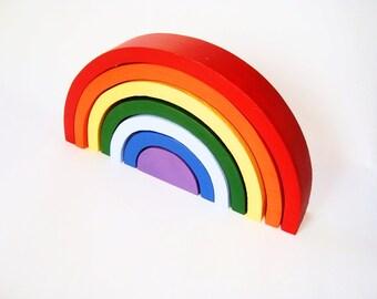 Wood stacker. Wood rainbow. Wood rainbow sorting toy. Montessori toys