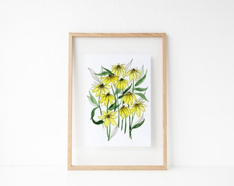 Watercolor Daisies | Wall Decor | Floral Illustration | Botanical Line Drawing