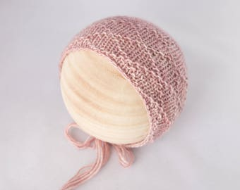 Pink knit baby bonnet, Newborn Photography Prop, Photo Prop, Knit Bonnet