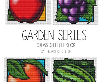 Garden Cross Stitch Kit, Garden Series, Fruit Cross Stitch, Embroidery Kit, 4 kits in one set (BOOK04)