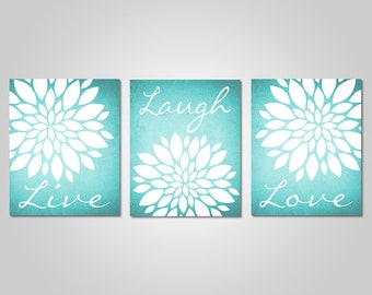 Amazing Teal Flower Wall Art   Live Laugh Love   Bedroom Dandelion Art   Aqua Decor    Turquoise Wall Art   DIY Printable Wall Art   Teal Wall Decor