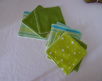 Cleansing wipes washable, reusable green bamboo Terry