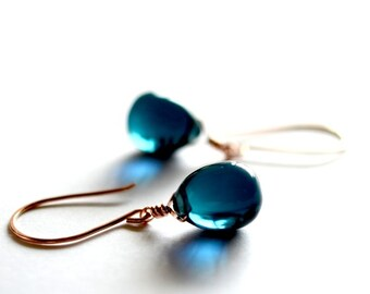 Rose gold earrings, rose gold jewelry, Navy blue glass earrings, blue earrings,glass drop earrings, blue stone earrings, Paka Ua Plump Sea