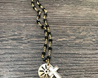 Black Onyx Rosary Chain with Charm