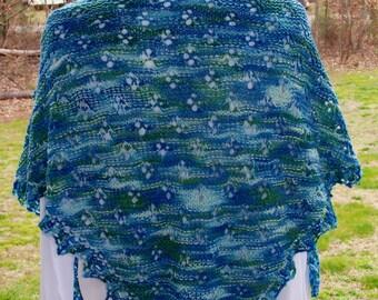 Aqua Triangular Shawl, Blue Lace Shawl, Green Lace Scarf, Knit Triangular Wrap, Hand Aqua Shawl, Mother's Day Gift, Spring Fashion Wear
