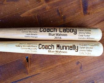 "Engraved Miniature Coach Baseball Bat, Coach's Baseball Bats, Custom Baseball Bat, Baseball Coach Gift, Softball Coach Gift , 17"" bat"