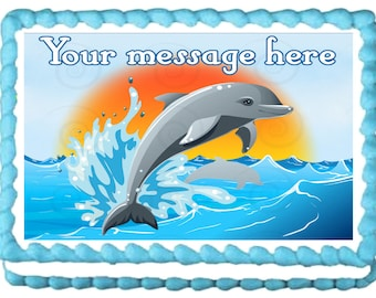 DOLPHIN edible cake topper party image