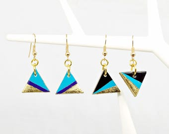 Triangle Earrings Set, Set of 2 Pairs, Enamel Earrings, Black and Turquoise Earrings, Festival Jewelry, 80's Style Earrings, 80's Jewelry
