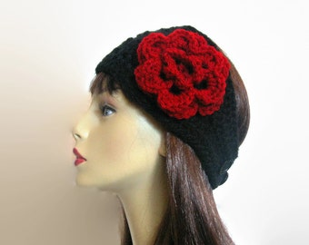 Crochet Ear Warmer with Flower Black Crochet Head band with flower Extra Wide and Thick Headband knit Ear warmer Black crochet Head band