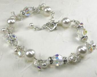 White Pearl Bracelet, Clear Swarovski Crystal and Rhinestone , Sterling Silver, Bride Bracelet Bridal Wedding Jewelry, June Birthday Gift