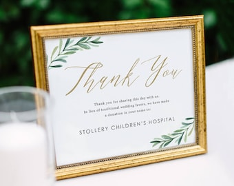 Greenery In Lieu of Favor Sign, Donation Sign, Donation Wedding Sign, Wedding Signs   Edit in Word and Pages