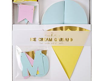 Ice Cream Garland by Meri Meri Pennants Honeycomb Ice Cream Cones Party Banner