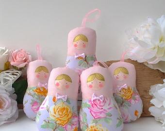 Babushka ornament, matryoshka dolls, 5 dolls set. Roses & pastel palette. Soft colours decor. Nice gift for anybody. Nursery and Home decor