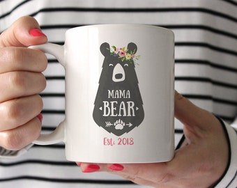 Personalized Mothers Day Gift from Husband Mama Bear Mug Baby Shower Gift for Mom Mothers Day Gift from Kids New Mom Gift Coffee Mug Pink