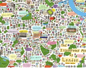 Illustrated map of South East London