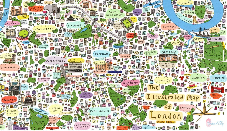 illustrated map of south east london. Black Bedroom Furniture Sets. Home Design Ideas