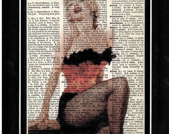 329 Marilyn Monroe  vintage dictionary paper art