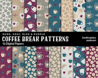 Coffee Break Patterns Nude Gray Blue Purple, 16 Digital Papers 12x12, Pattern File PAT Included, Seamless, Commercial Use, INSTANT DOWNLOAD