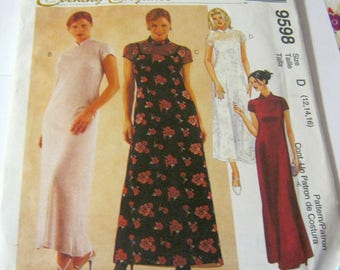 Mccall's 9598 Misses' Mandrin Collar Dress in two Lenghts with Attached Slip Size 12-16 Vintage 1998