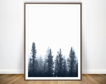Pine Forest Print * Scandinavian Print Nordic Wall Art Woodland Print Pine Tree Print Forest Photography Forest Poster Forest Navy Wall Art