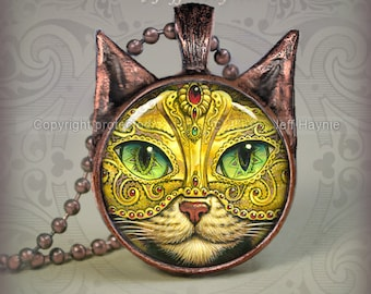 KM1 Mardi Gras Cat  pendant