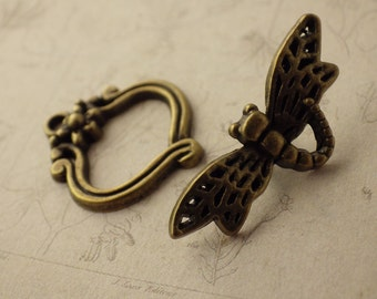 1 x Dragonfly Clasp, Quality Toggle Clasp, Bronze 3D Bracelet Clasp, Nature Animal Necklace Clasp, UK Jewelry Making Supplies & Findings