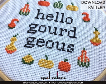 Hello Gourd-Geous Counted Cross Stitch PATTERN DIGITAL DOWNLOAD Intermediate