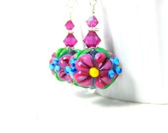 Bright Pink Floral Earrings, Colorful Dangle Earrings, Garden Earrings, Nature Inspired Jewelry Lampwork Earrings, Flower Earrings - Molly