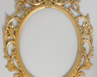 Gold Ornate Oval Frame, Shabby Chic Frame, Wedding Photo Prop, Baroque Frame, Nursery Frame