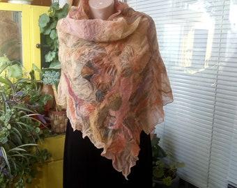 Nunofelted scarf Felted scarf Wool Silk Women's scarf Wool and silk scarf TSVETANKAPETROVA1949