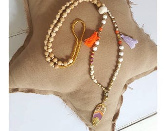 Necklace feather purple Golden Orange and natural.