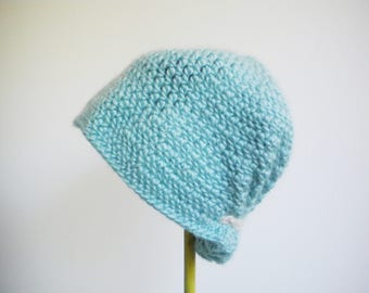 Crochet Ruffled Cloche Hat in Aqua Blue - Retro 1930s 1940s Style - winter hats for women - winter hats for girls - crochet flapper hats