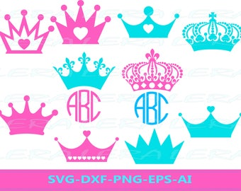 60 % OFF, Crown Svg, Crown Monogram svg, Crown Princess Silhouette svg, dxf, ai, eps, png, Princess Vector Files, Crowns Svg
