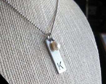 XL Initial Pendant - Necklace and Pearl - skinny Rectangle Charm - Extra Large Customized Letter - cute, fun, sweet - silver, copper, gold
