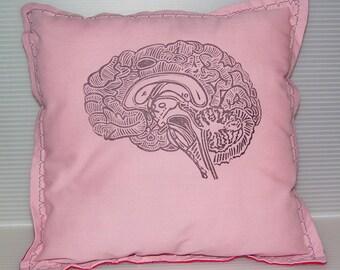 Geekery Girl Pillow -Linocut Brain- Custom Colors Size Commisssion
