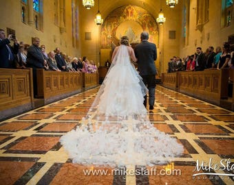 SALE - 3D Flower Petal Veil Cathedral Length