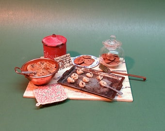 Collector Miniature 1:12 Scale Chocolate Chip Baking Prep Board OOAK Realistic on faux Marble
