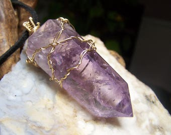 Large Amethyst 14 Karat Gold fill wire wrap necklace pendant  on black cord - light purple stone natural Quartz crystal gemmy point - D910