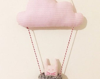 Cloud Wall Hanging - Nursery Decor - Kids Room Decoration Baby Mobile Plush Cloud with cat