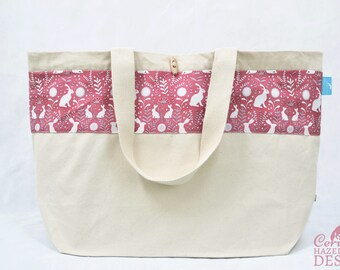 Floral Hares Large Tote Bag, Canvas Tote, Reusable Shopper Bag, Cotton Tote, Shopping Bag, Eco Tote Bag, Reusable Grocery BagStocking Filler