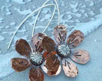 Flower Earrings, Mixed Metal Earrings Hammered Copper Earrings  Floriculture Flowers Sterling and Copper Jewelry, Botanical