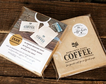 Wedding Favor Coffee Bags - Newlywed Blend - Coffee Kits - 24 Bags + Gold Foil Stickers