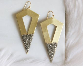 Pyrite and Brass Triangle Earrings