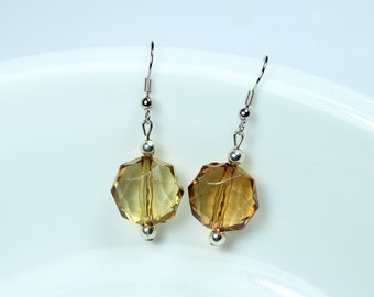 "Earrings - Amber Colors - Simplicity and Lightweight Earrings ""Matters To Me"""