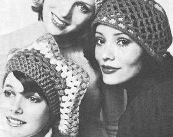 Vintage 1970s Crochet Hat Pattern 36 Go Fast Hats PDF 7308