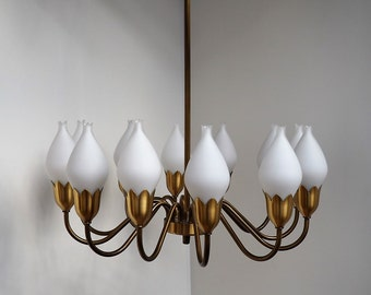 Brass chandelier with opal glass shades - Danish mid century lighting from Fog Morup, 1950s - 1960s