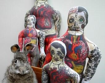 Large Mr Anatomy or Tattooed Man - Caverous Cavity Plushie Anatomy Tattoo - Creepy Toy Anatomical Heart Tattoo Weird