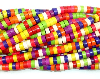 Howlite Beads, Multicolored, Heishi, 3 x 6 mm, 15.5 Inch, Full strand, Approx 130 beads, Hole 1 mm (275041002)