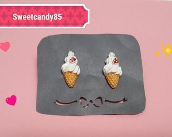 Strawberry and whipped cream cupcake earrings. Kawaii