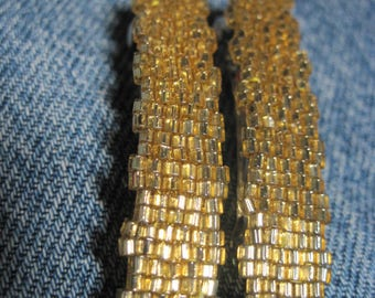 Gold Silver Lined Toho 1.5 mm CUBE Beaded Solid Barrettes....set of 2 Small Size....hand made OOAK Original Design #1648h